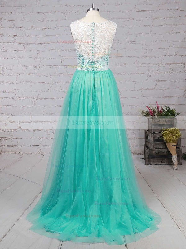 A-line Scoop Neck Lace Tulle Sweep Train Prom Dresses #Favs020101174
