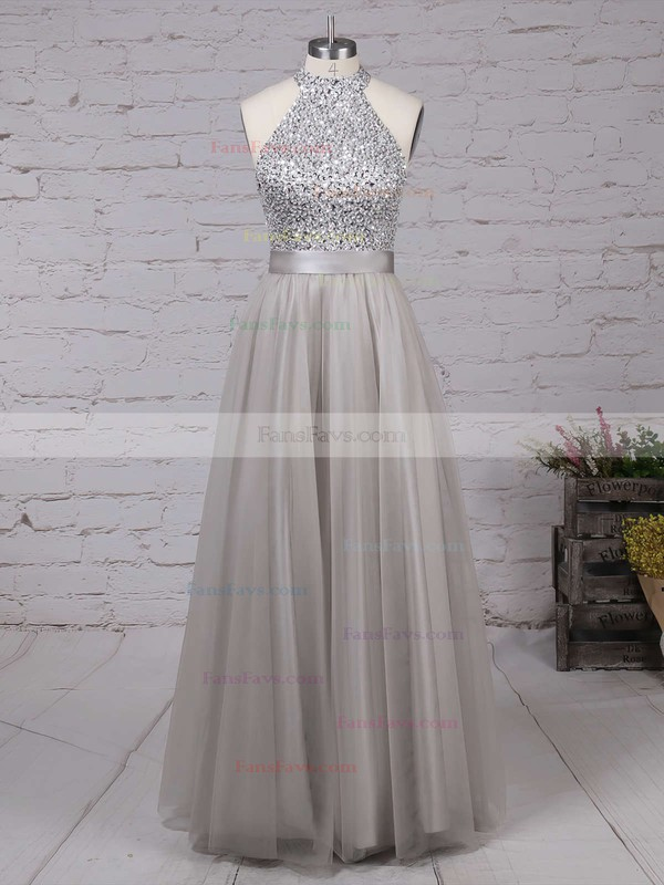 A-line High Neck Tulle Floor-length Beading Prom Dresses #Favs020101636