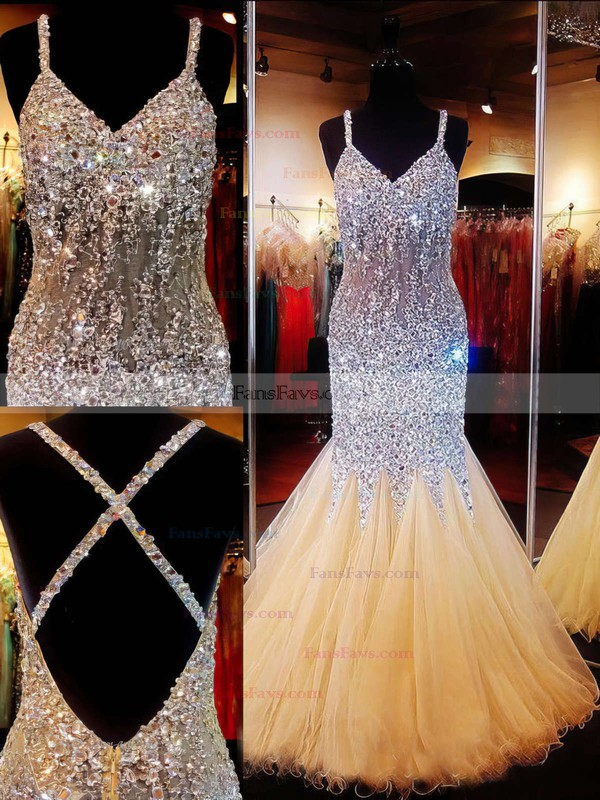 Trumpet/Mermaid V-neck Floor-length Tulle Prom Dresses #Favs020101840