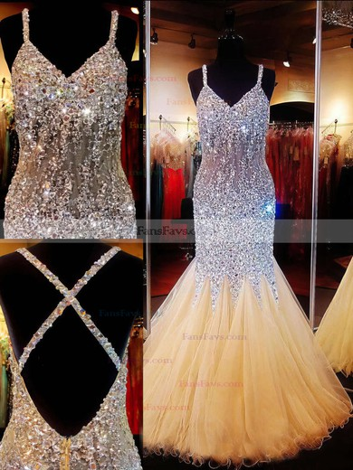 Trumpet/Mermaid V-neck Tulle Floor-length Crystal Detailing Prom Dresses #Favs020101840