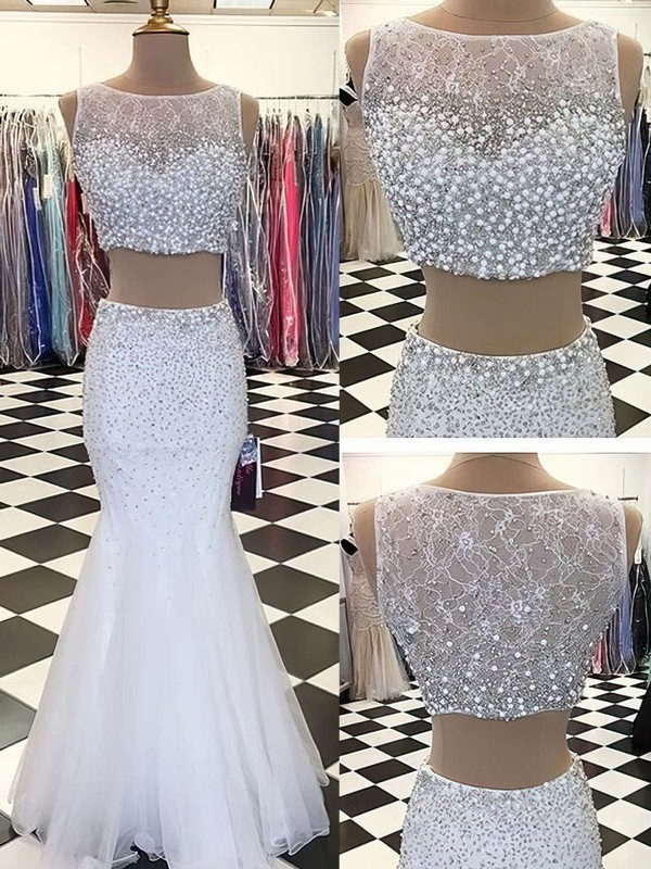 Trumpet/Mermaid Scoop Neck Floor-length Lace Tulle Prom Dresses with Beading #Favs020102427