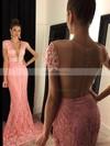 Trumpet/Mermaid V-neck Lace Sweep Train Sashes / Ribbons Prom Dresses #Favs020102449