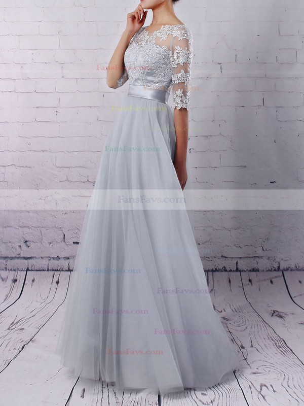 A-line Scoop Neck Tulle Floor-length Appliques Lace Prom Dresses #Favs020102645