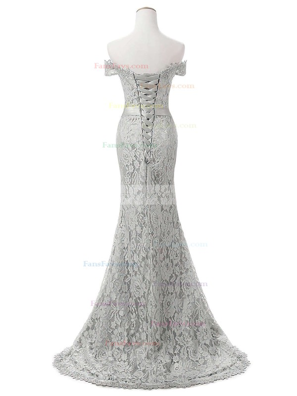 Trumpet/Mermaid Off-the-shoulder Lace Sweep Train Appliques Lace Prom Dresses #Favs020102649
