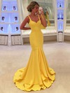 Trumpet/Mermaid V-neck Silk-like Satin Sweep Train Ruffles Prom Dresses #Favs020104529