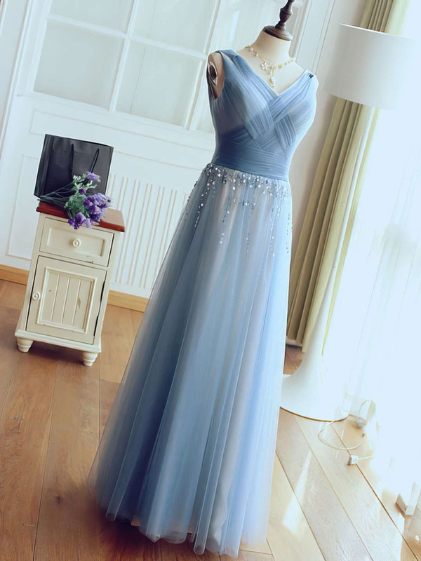A-line V-neck Floor-length Tulle Prom Dresses with Beading Ruffle #Favs020102764