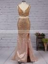 Sheath/Column V-neck Tulle Floor-length Split Front Prom Dresses #Favs020102913