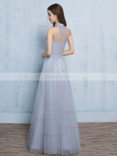 A-line High Neck Tulle Floor-length Appliques Lace Prom Dresses #Favs020102925