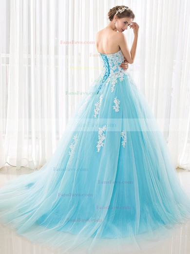 Ball Gown Sweetheart Tulle Sweep Train Appliques Lace Lace-up Beautiful Prom Dresses #Favs020103029