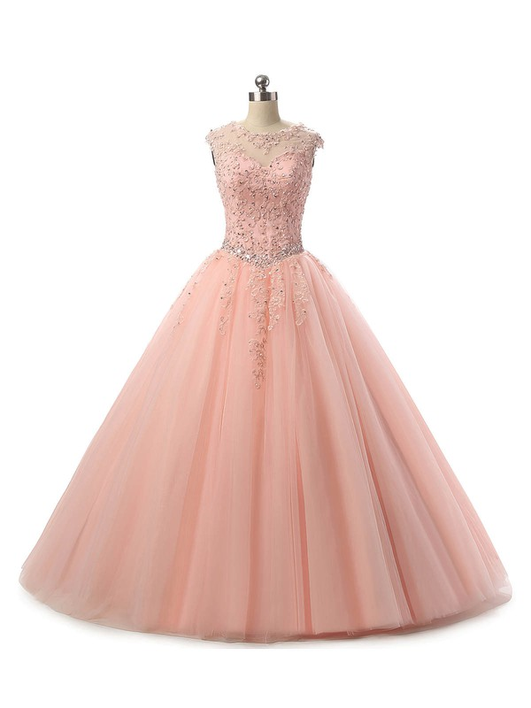 Ball Gown Scoop Neck Tulle Floor-length Appliques Lace Lace-up Trendy Prom Dresses #Favs020103065