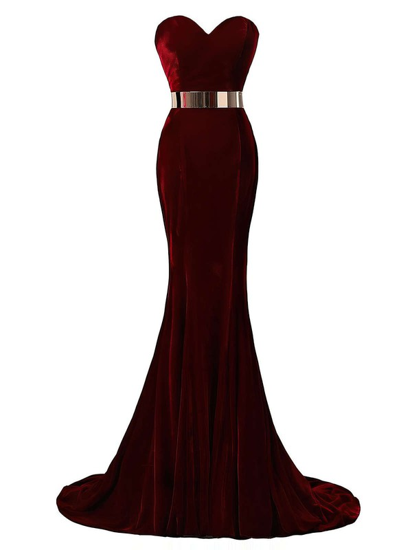 Trumpet/Mermaid Sweetheart Sweep Train Velvet Prom Dresses with Sashes #Favs020103539