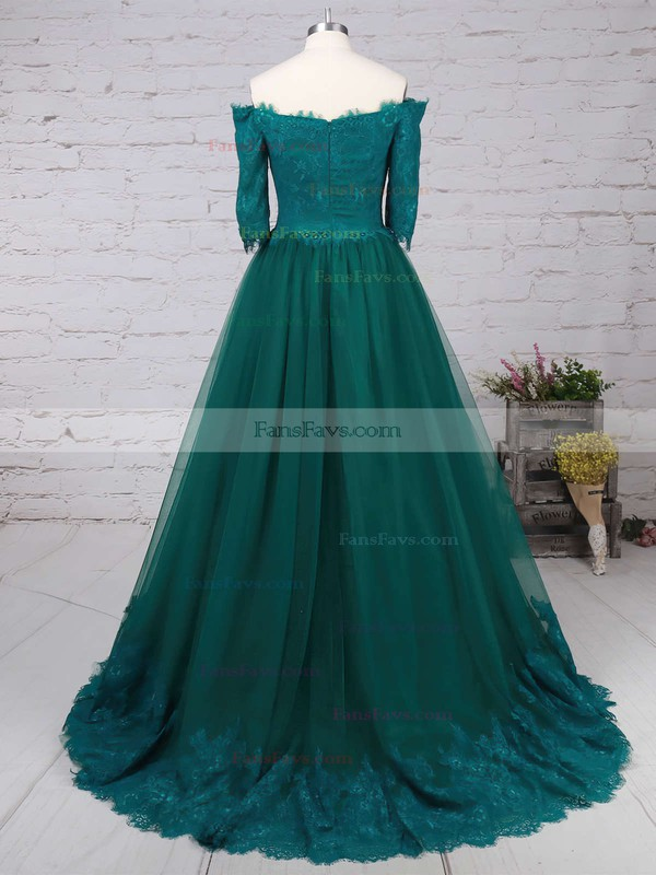 A-line Off-the-shoulder Lace Tulle Floor-length Appliques Lace Prom Dresses #Favs020104467