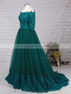 A-line Off-the-shoulder Floor-length Tulle Prom Dresses with Appliques Lace #Favs020104467