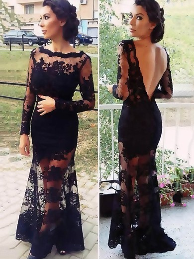 Trumpet/Mermaid Scalloped Neck Tulle Floor-length Appliques Lace Prom Dresses #Favs02015408