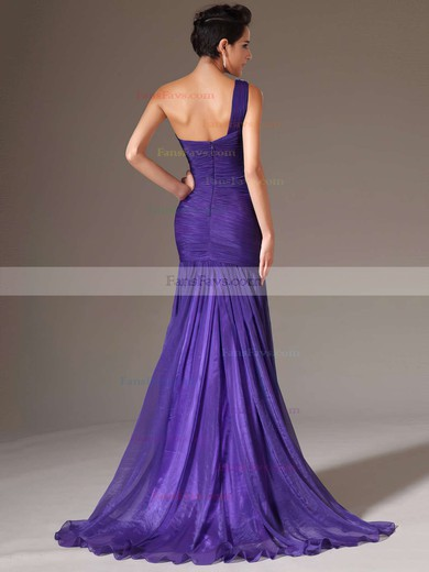 Trumpet/Mermaid One Shoulder Chiffon Sweep Train Beading Prom Dresses #Favs020101289