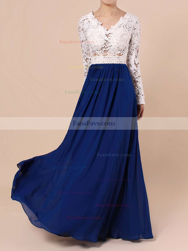 A-line V-neck Floor-length Lace Chiffon Prom Dresses with Pearl Detailing #Favs020101388