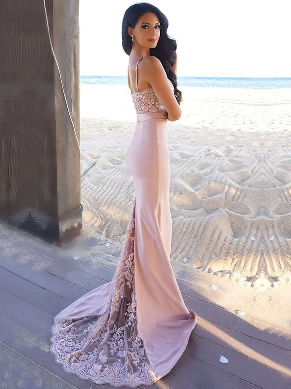 Trumpet/Mermaid Sweetheart Jersey Sweep Train Lace Prom Dresses #Favs020104584