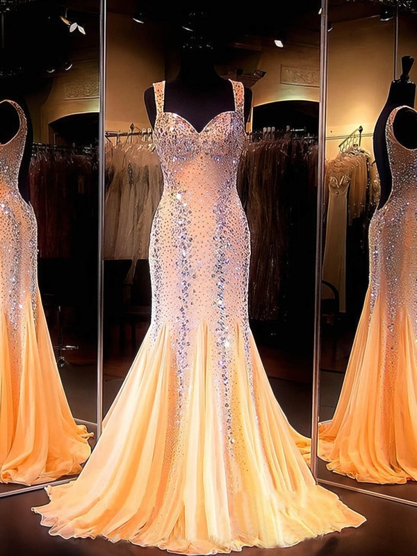 Trumpet/Mermaid Sweetheart Chiffon Sweep Train Beading Prom Dresses #Favs020101639