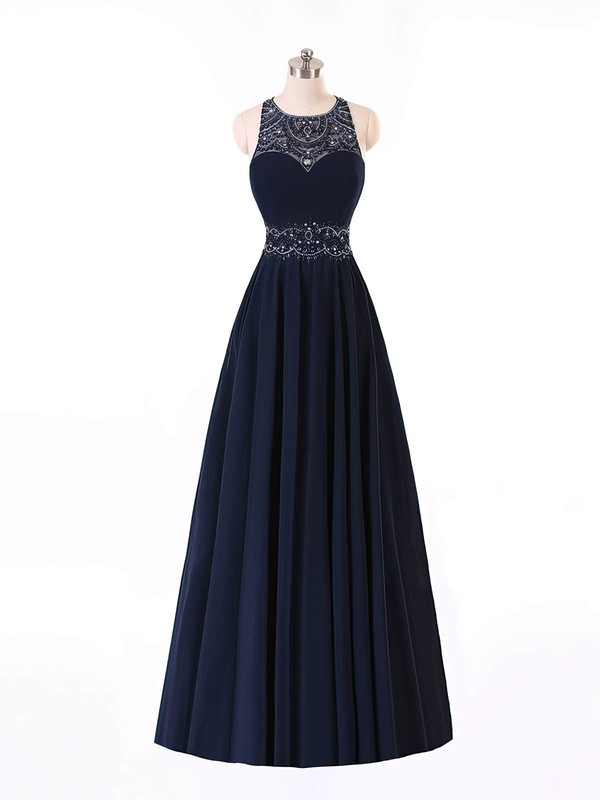 Princess Scoop Neck Chiffon Sweep Train Beading Prom Dresses #Favs020101686