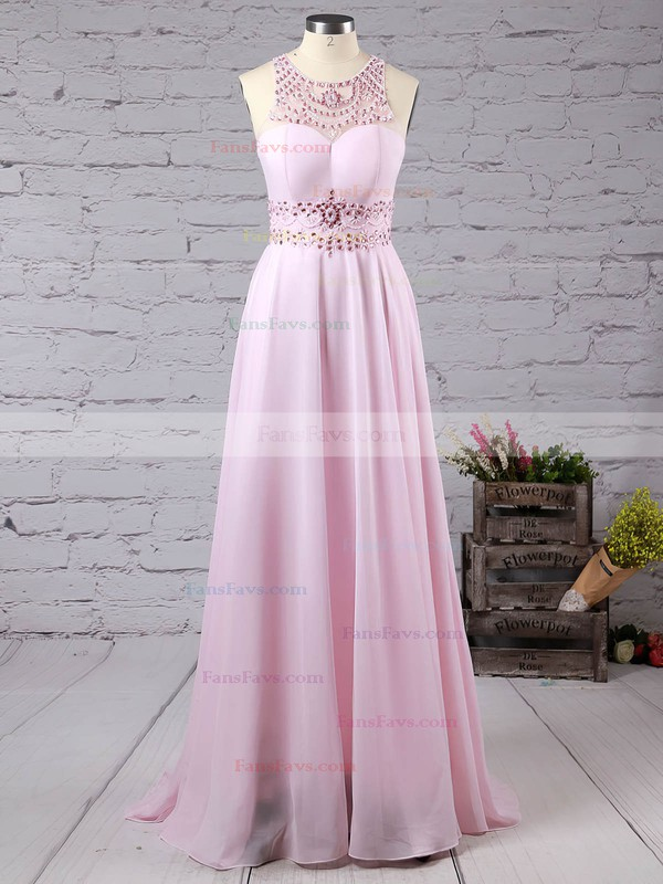A-line Scoop Neck Sweep Train Chiffon Prom Dresses with Beading #Favs020101686