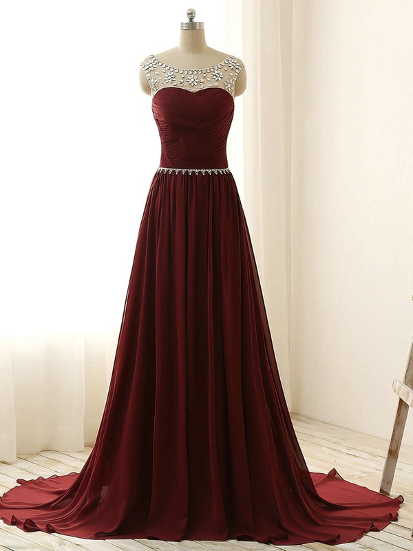 A-line Scoop Neck Sweep Train Chiffon Prom Dresses with Beading #Favs020101794