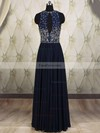 A-line Scoop Neck Floor-length Chiffon Prom Dresses with Beading Sequins #Favs020101818
