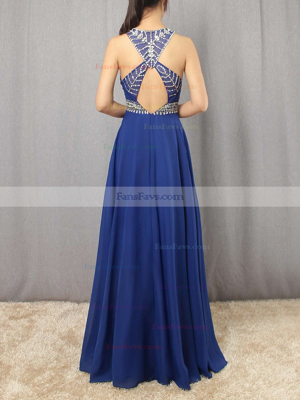 A-line Scoop Neck Floor-length Chiffon Tulle Prom Dresses with Beading #Favs020101838