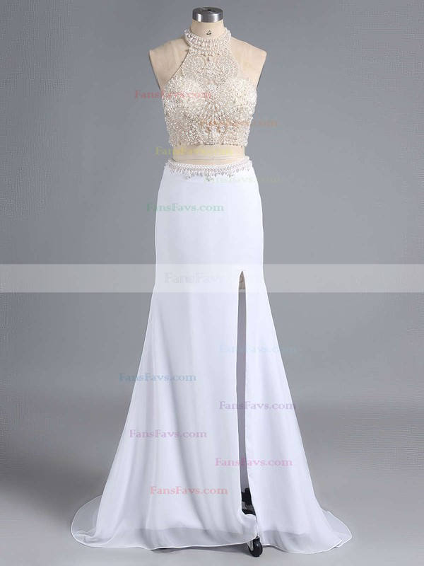 Sheath/Column Halter Chiffon Sweep Train Beading Prom Dresses #Favs020101849