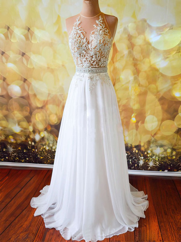 3d0234c771e A-line Scoop Neck Sweep Train Tulle Chiffon Prom Dresses with Appliques Lace  Beading
