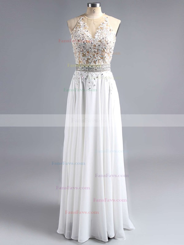 A-line Scoop Neck Chiffon Sweep Train Beading Prom Dresses #Favs020102042