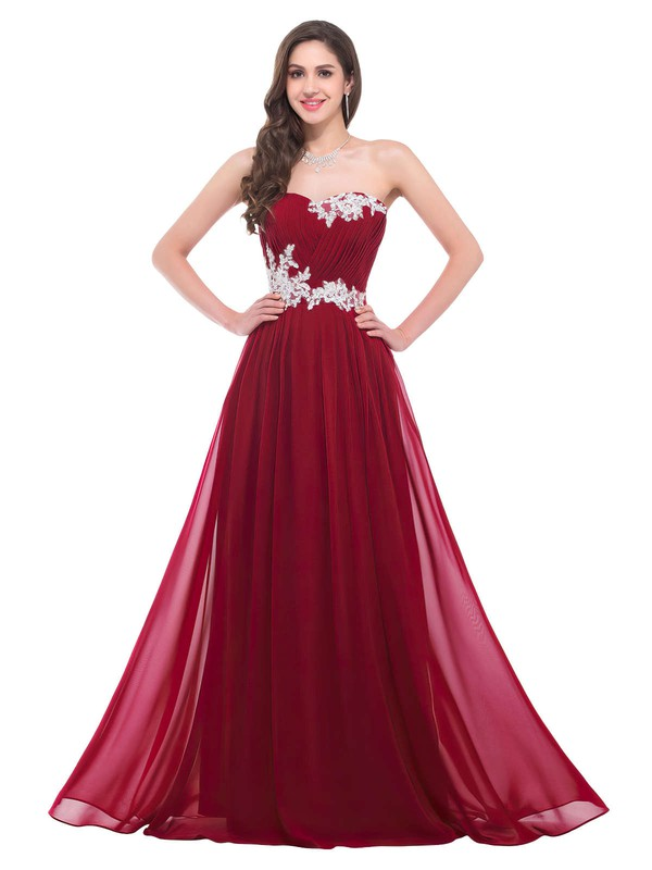 A-line Sweetheart Chiffon Floor-length Appliques Lace Prom Dresses #Favs020102043
