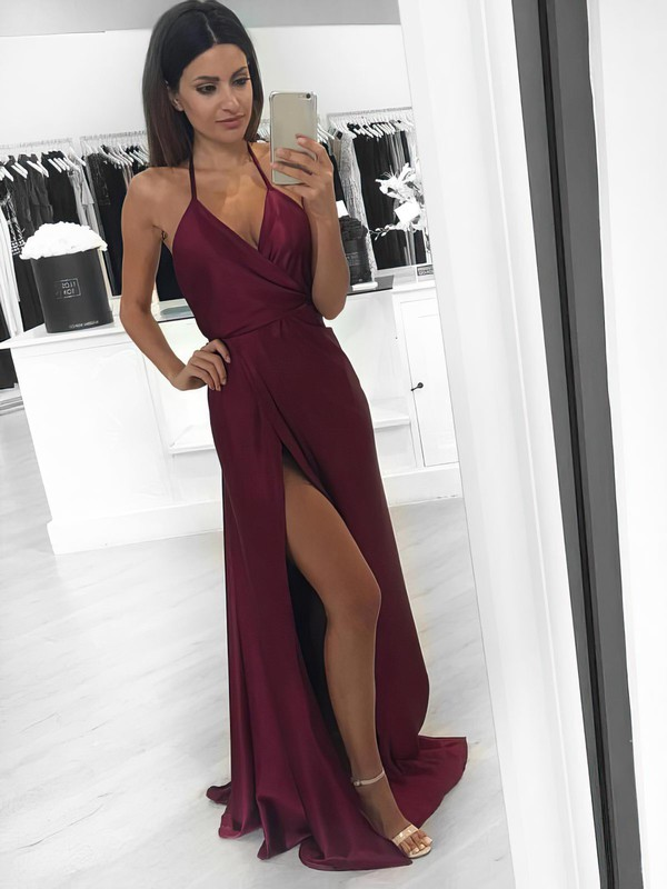 A-line V-neck Halter Floor-length Silk-like Satin Prom Dresses with Split Front #Favs020104588