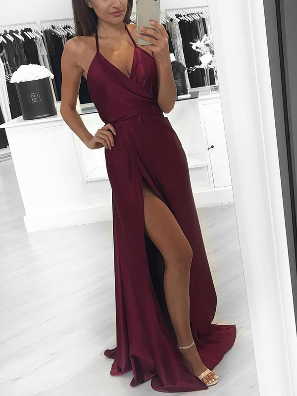 2d8234dafd9c A-line V-neck Halter Floor-length Silk-like Satin Prom Dresses