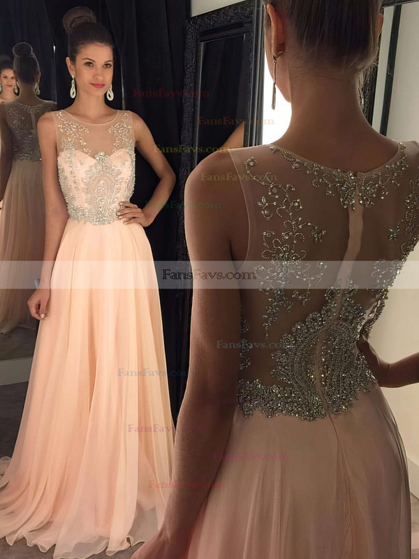 A-line Scoop Neck Sweep Train Chiffon Tulle Prom Dresses with Beading #Favs020102320
