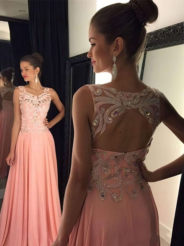 A-line Scoop Neck Sweep Train Chiffon Prom Dresses with Appliques Lace Sequins #Favs020102395