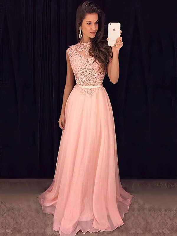 A-line Scoop Neck Chiffon Sweep Train Appliques Lace Prom Dresses #Favs020102396