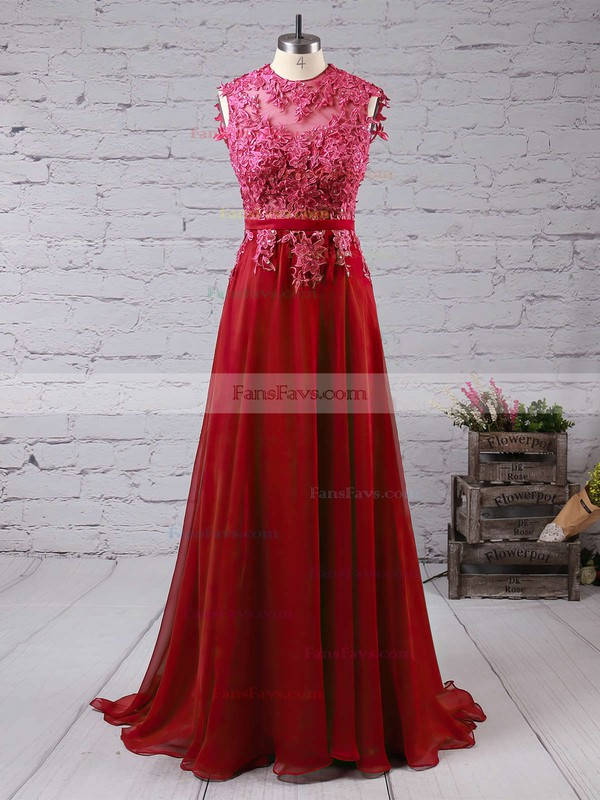 A-line Scoop Neck Sweep Train Chiffon Prom Dresses with Appliques Lace Sashes #Favs020102396