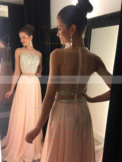 A-line Scoop Neck Tulle Chiffon Sweep Train Beading Prom Dresses #Favs020102442