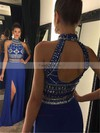 Sheath/Column High Neck Sweep Train Chiffon Prom Dresses with Beading Split Front #Favs020102476