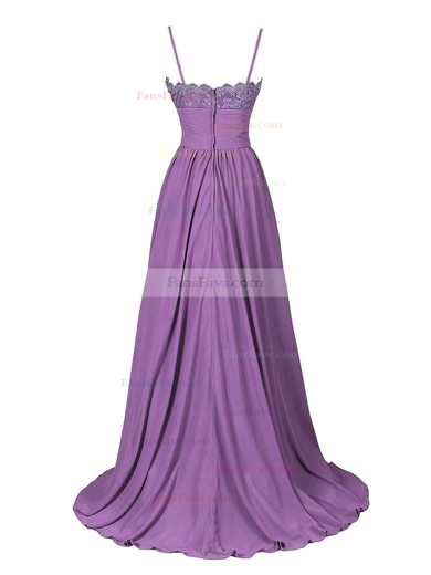 A-line V-neck Sweep Train Chiffon Appliques Lace Prom Dresses #Favs020102675