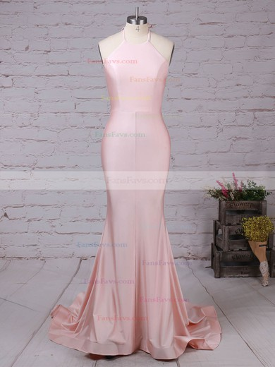 Trumpet/Mermaid Halter Sweep Train Silk-like Satin Prom Dresses #Favs020104609