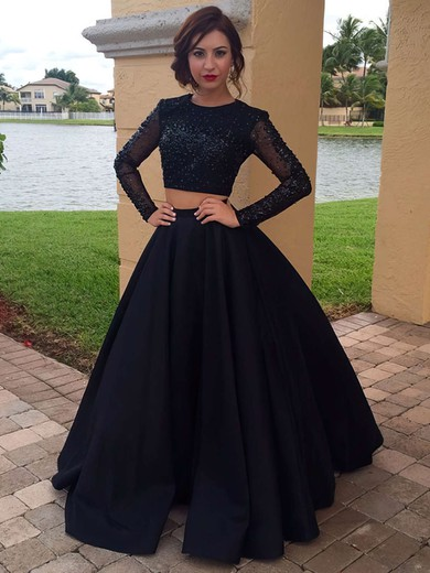 Ball Gown Scoop Neck Floor-length Satin Tulle Prom Dresses with Beading #Favs020103091