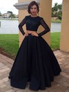 Ball Gown Scoop Neck Satin Tulle Floor-length Beading Prom Dresses #Favs020103091