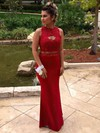Sheath/Column Scoop Neck Chiffon Floor-length Beading Prom Dresses #Favs020103260