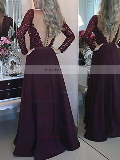 A-line Scoop Neck Satin Floor-length Appliques Lace Prom Dresses #Favs020103603