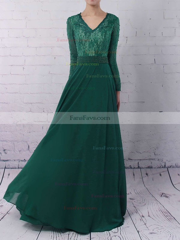 A-line V-neck Chiffon Sweep Train Appliques Lace Prom Dresses #Favs020103677