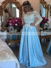 A-line Scoop Neck Lace Satin Floor-length Appliques Lace Prom Dresses #Favs020103719