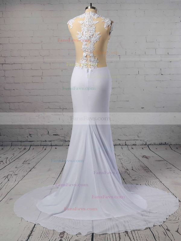 Trumpet/Mermaid Scoop Neck Chiffon Sweep Train Appliques Lace Prom Dresses #Favs020103724