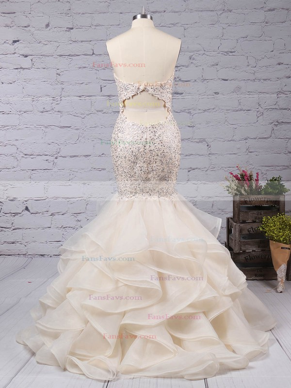 Trumpet/Mermaid Sweetheart Organza Sweep Train Beading Prom Dresses #Favs020104547