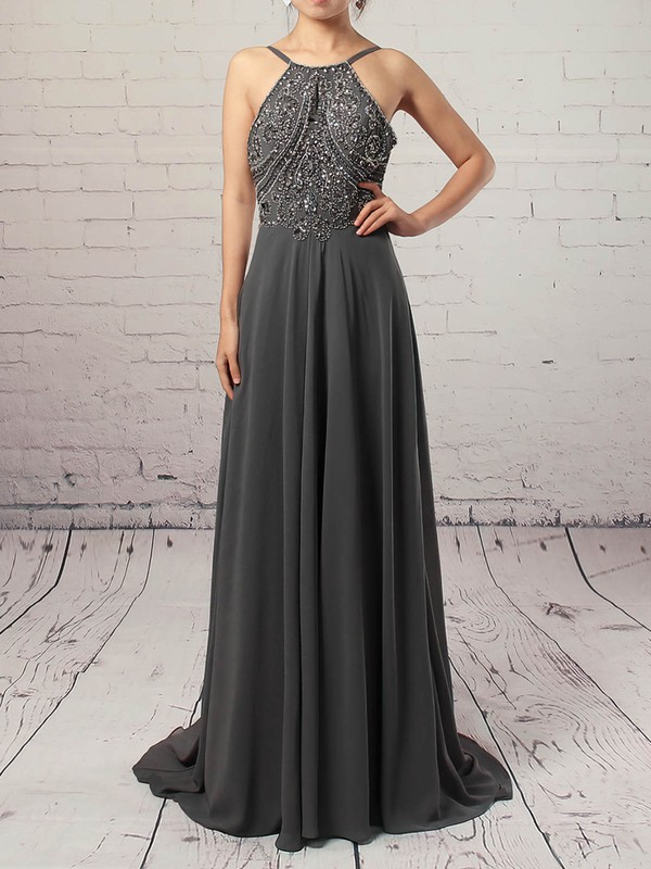 A-line Scoop Neck Sweep Train Chiffon Prom Dresses with Beading #Favs020104558